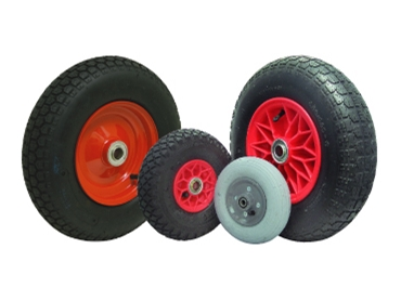 Pneumatic wheels and castors
